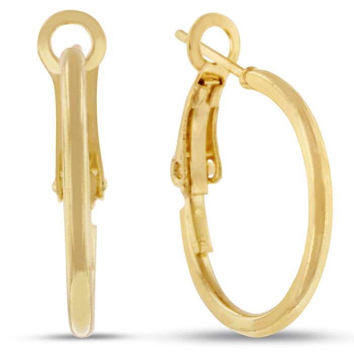18K Yellow Gold Hoop Earrings w/ Omega Backs, 3/4 Inch by SuperJe