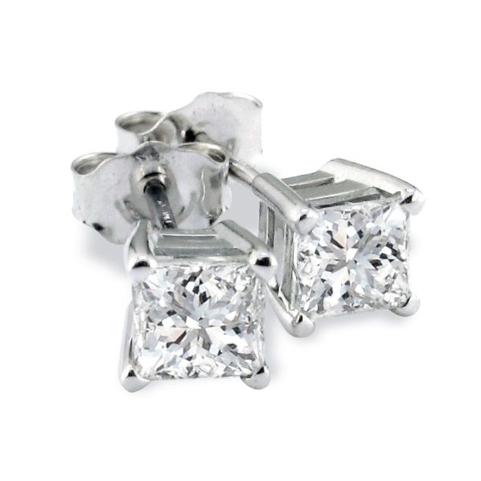 Platinum 3/4 Carat Princess Cut Diamond Stud Earrings, H/I, SI2/S