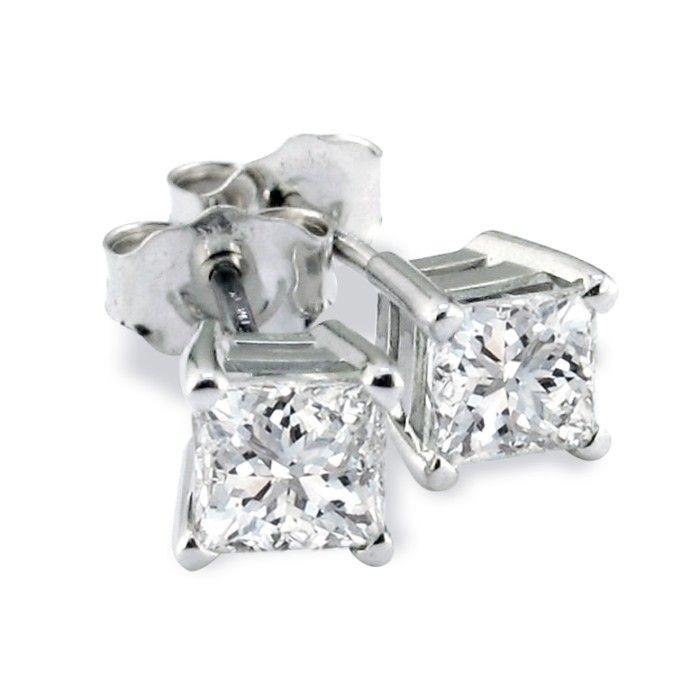 Platinum 3/4 Carat Princess Cut Diamond Stud Earrings, H/I, SI2/SI3 by Hansa