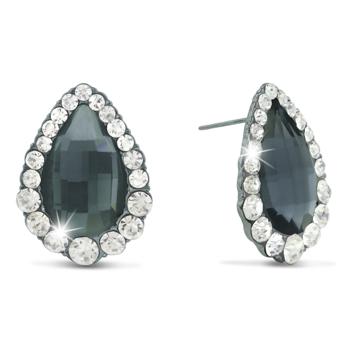 Swarovski Elements Pear Shape Stud Earrings, Pushbacks by SuperJe