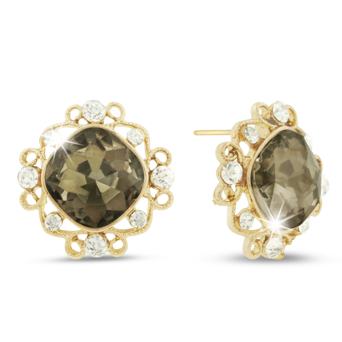Champagne Colored Swarovski Elements Cushion Cut Stud Earrings, P