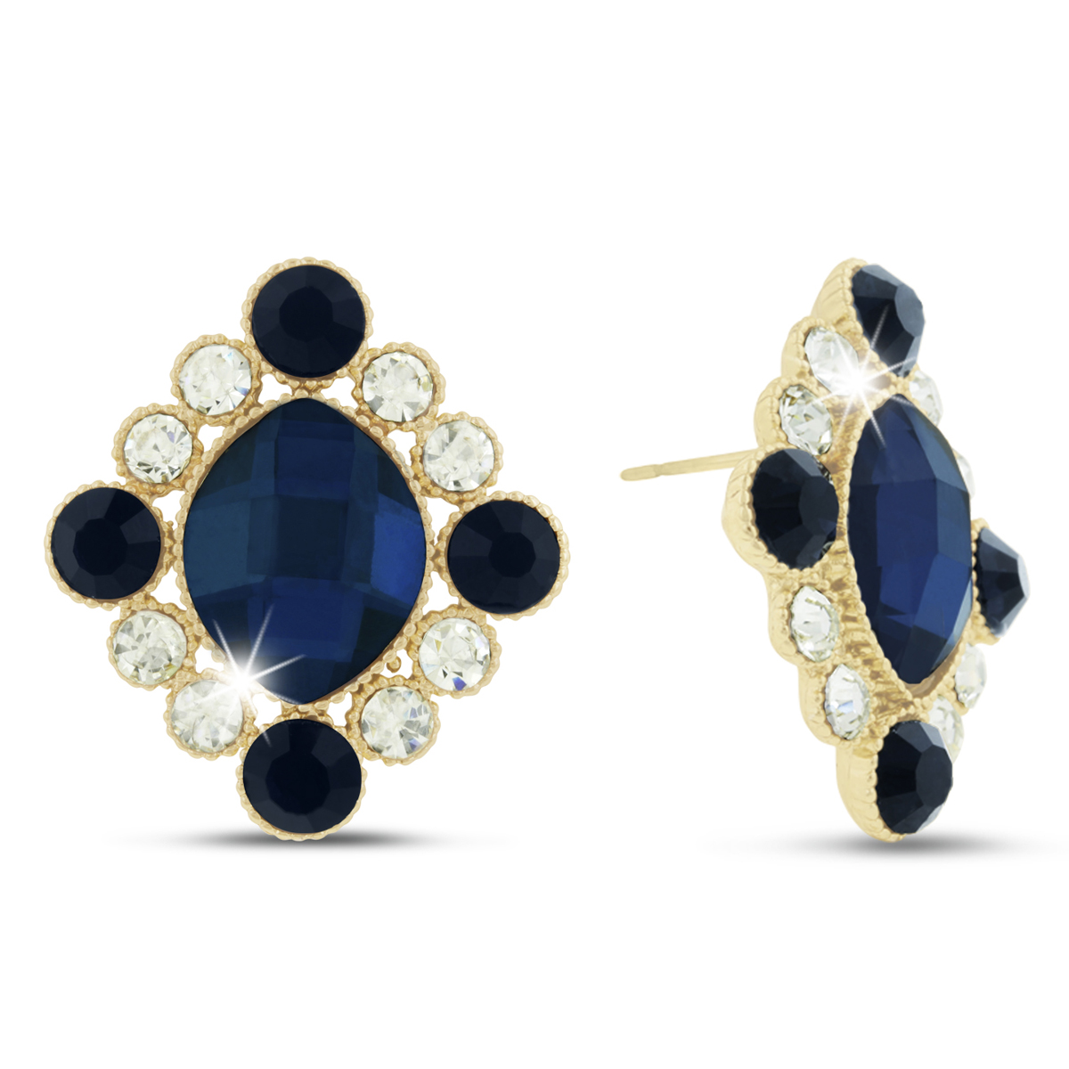 Royal Blue Swarovski Elements Antique Stud Earrings, Pushbacks by SuperJeweler