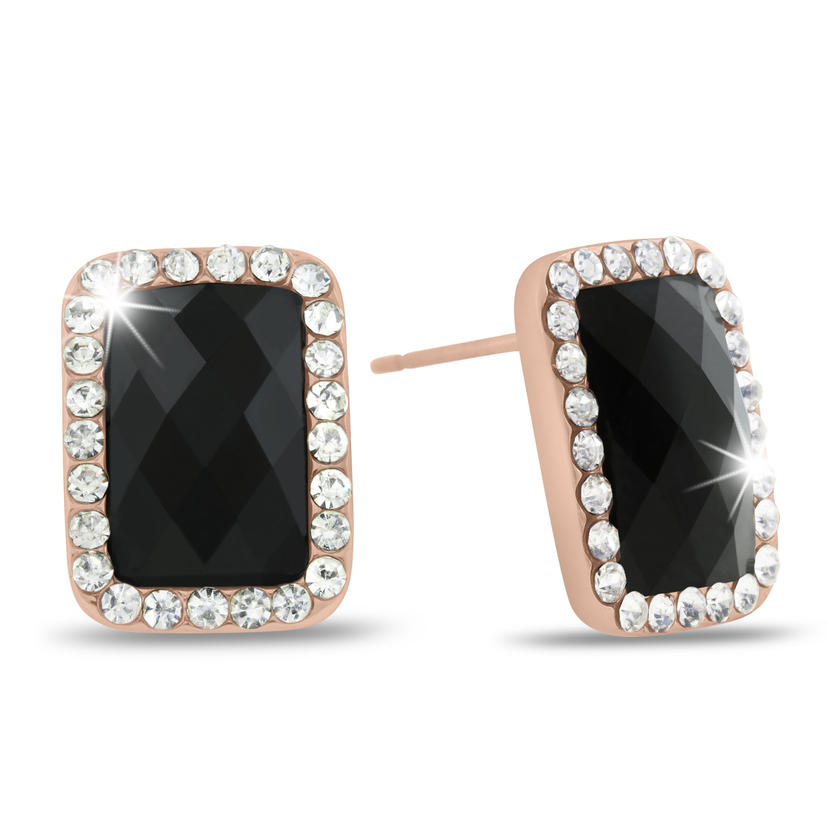 Black Onyx Swarovski Elements Stud Earrings, Pushbacks
