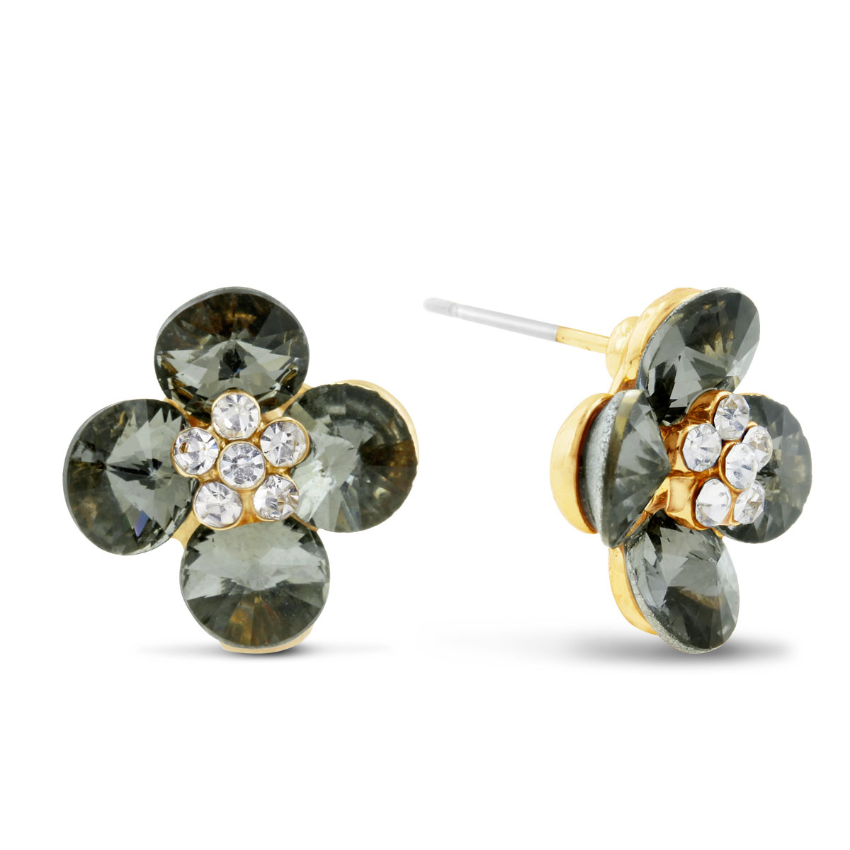 Blooming Flower Swarovski Elements Stud Earrings, Pushbacks by Su