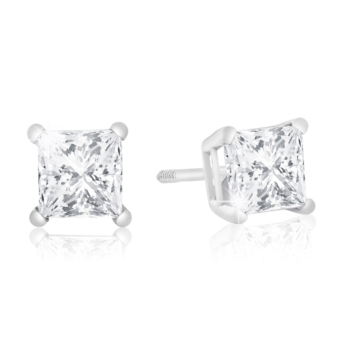 1 Carat Diamond White Gold Stud Earrings in 14k White Gold, H/I Color SI2/SI3 Clarity by Hansa