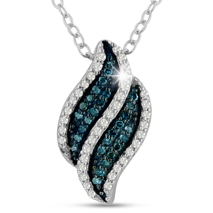 CLOSEOUT! 1/5ct Blue Diamond Swirl Pendant