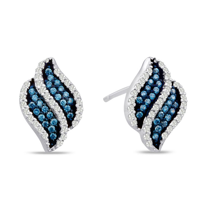 1/3 Carat Blue & White Diamond Swirl Stud Earrings in Sterling Si