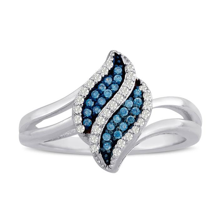 1/6 Carat Blue & White Diamond Ring in Sterling Silver, J/K, Size
