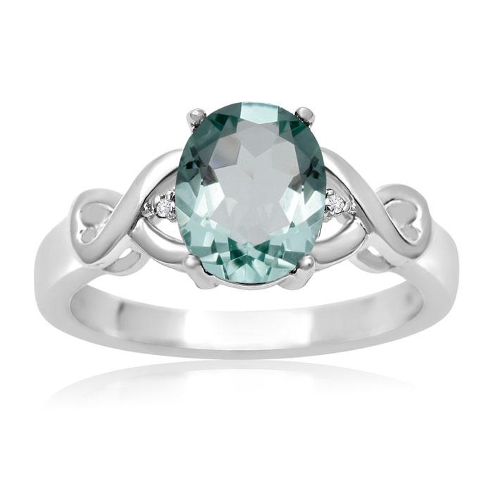 1 3/4 Carat Oval Shape Green Amethyst & Diamond Ring, J/K by Supe