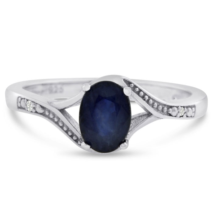 1 Carat Oval Shape Sapphire & Diamond Ring in Sterling Silver, J/