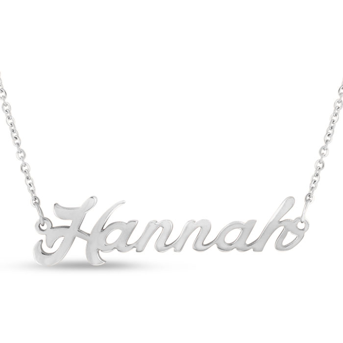 Hannah Nameplate Necklace in Silver, 16 Inch Chain by SuperJewele