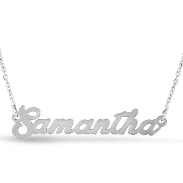 Samantha Nameplate Necklace in Silver, 16 Inch Chain by SuperJeweler