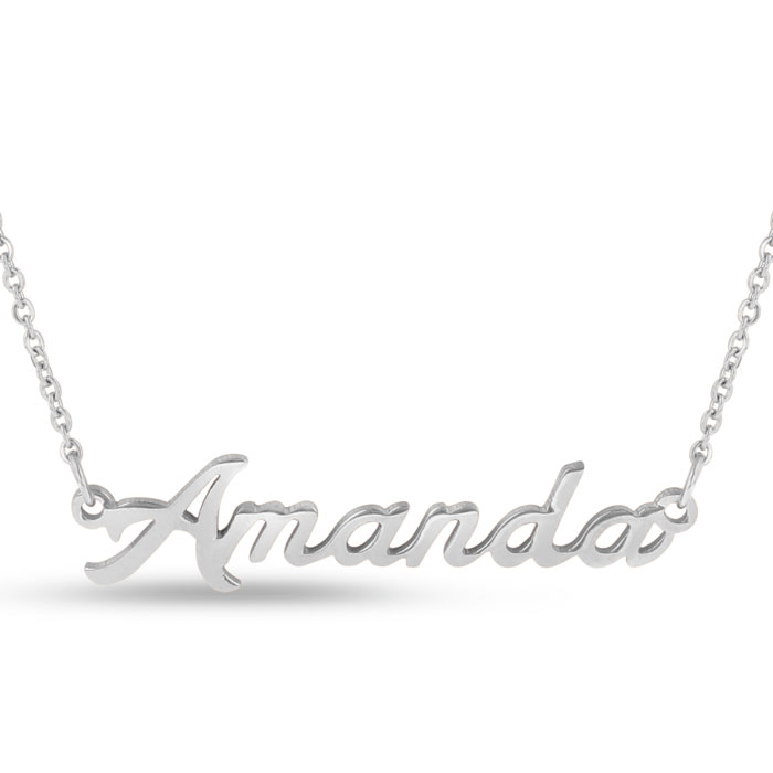 Amanda Nameplate Necklace in Silver, 16 Inch Chain by SuperJewele