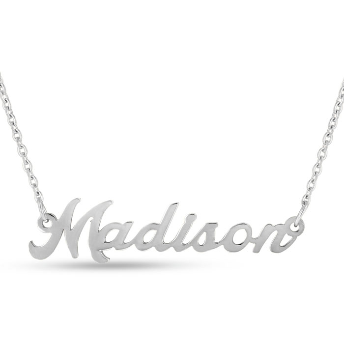 Madison Nameplate Necklace in Silver, 16 Inch Chain by SuperJeweler