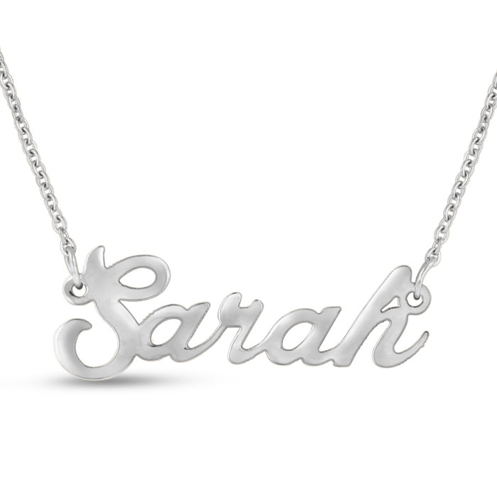 Sarah Nameplate Necklace in Silver, 16 Inch Chain by SuperJeweler