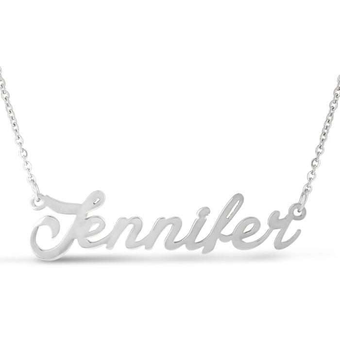 a1084df2d0df3 Jennifer Nameplate Necklace In Silver | SuperJeweler.com