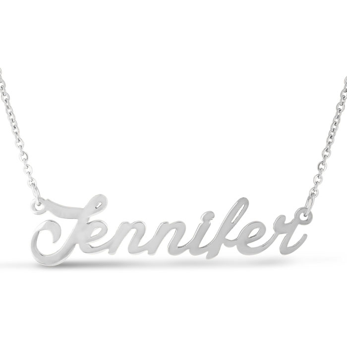 Jennifer Nameplate Necklace in Silver, 16 Inch Chain by SuperJewe