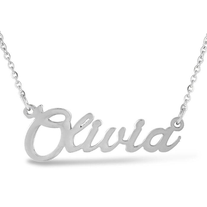 dd5e6dcbc672e Olivia Nameplate Necklace In Silver | SuperJeweler.com
