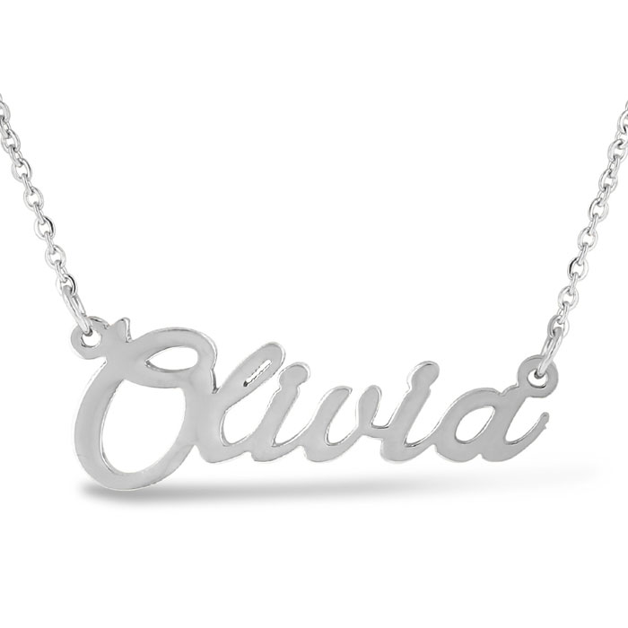 Olivia Nameplate Necklace in Silver, 16 Inch Chain by SuperJeweler