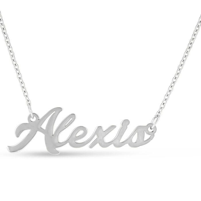 Alexis Nameplate Necklace in Silver, 16 Inch Chain by SuperJewele