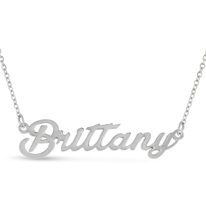 Brittany Nameplate Necklace in Silver, 16 Inch Chain by SuperJewe