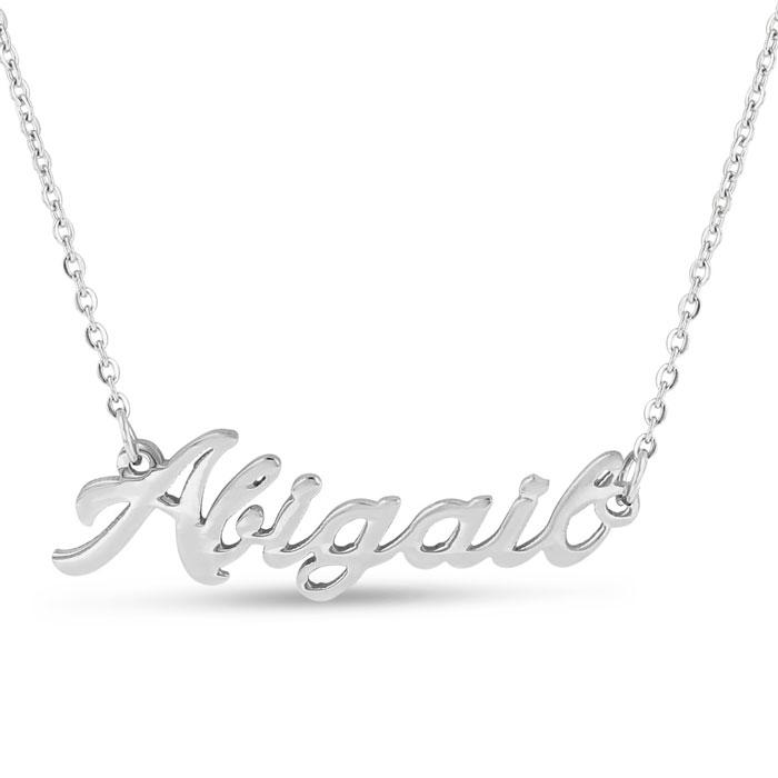 a42dd7b66dfbc Abigail Nameplate Necklace In Silver | SuperJeweler.com