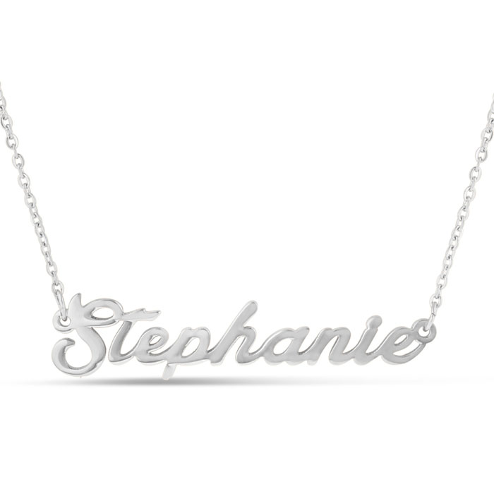 Stephanie Nameplate Necklace in Silver, 16 Inch Chain by SuperJeweler