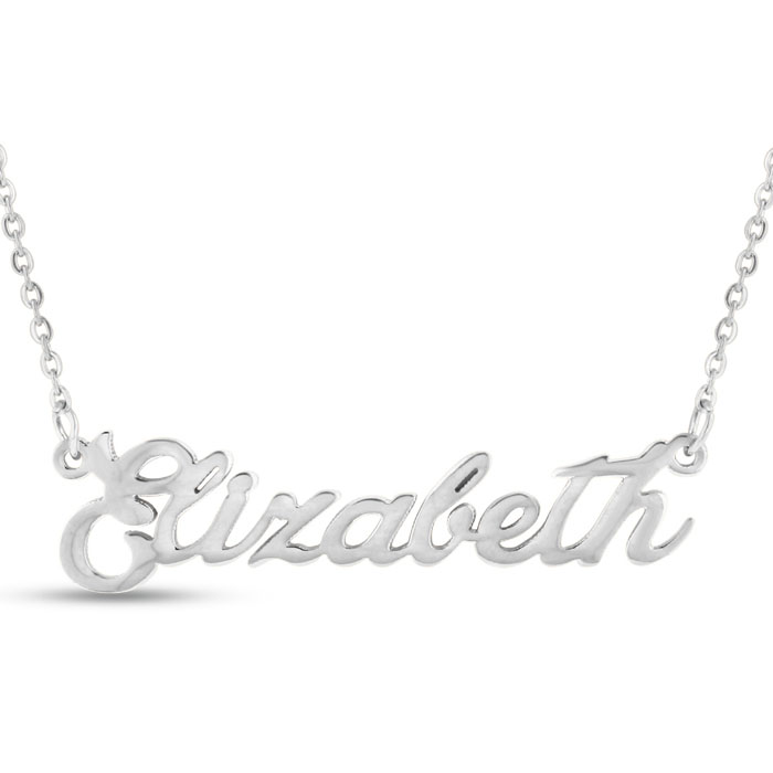 Elizabeth Nameplate Necklace in Silver, 16 Inch Chain by SuperJeweler