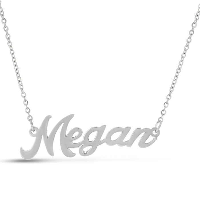 Megan Nameplate Necklace in Silver, 16 Inch Chain by SuperJeweler