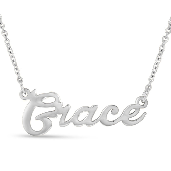 Grace Nameplate Necklace in Silver, 16 Inch Chain by SuperJeweler