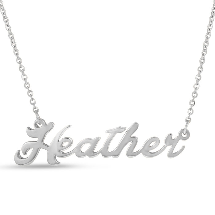 Heather Nameplate Necklace in Silver, 16 Inch Chain by SuperJewel
