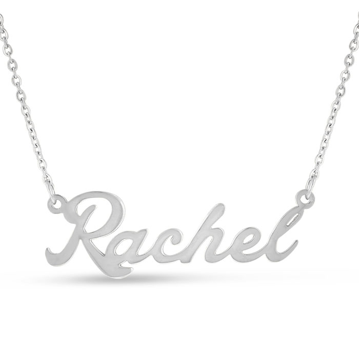 Rachel Nameplate Necklace in Silver, 16 Inch Chain by SuperJewele