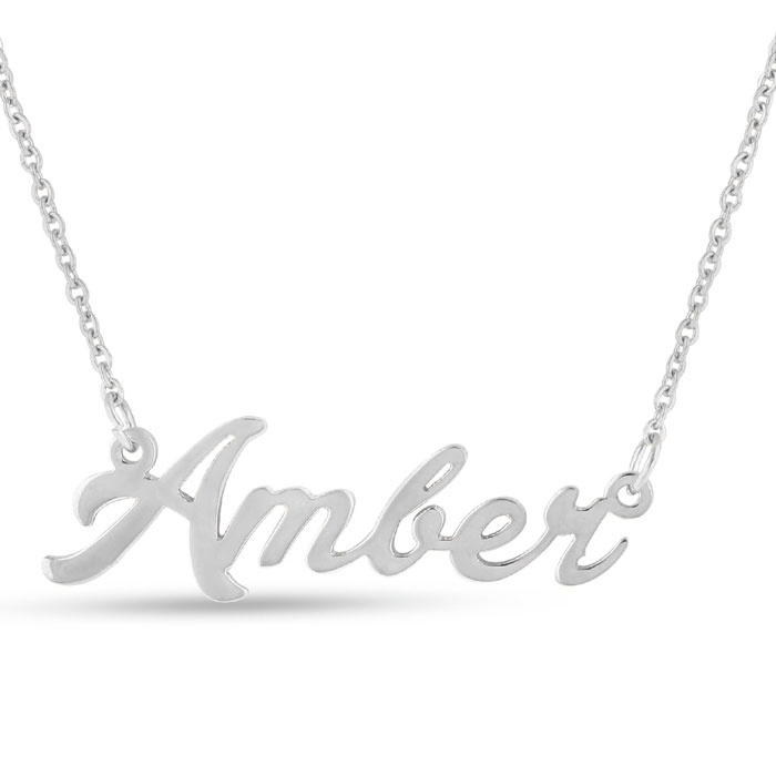 Amber Nameplate Necklace in Silver, 16 Inch Chain by SuperJeweler