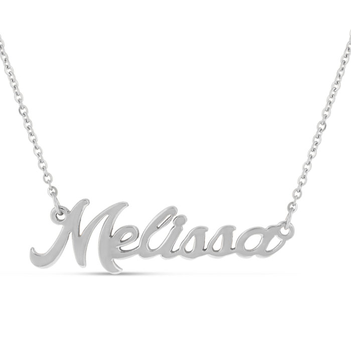 Melissa Nameplate Necklace in Silver, 16 Inch Chain by SuperJeweler