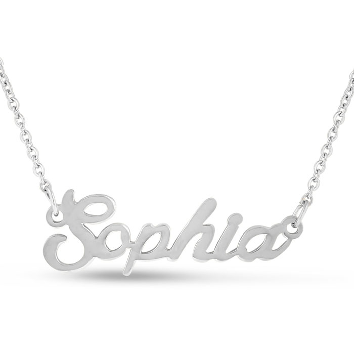 Sophia Nameplate Necklace in Silver, 16 Inch Chain by SuperJewele