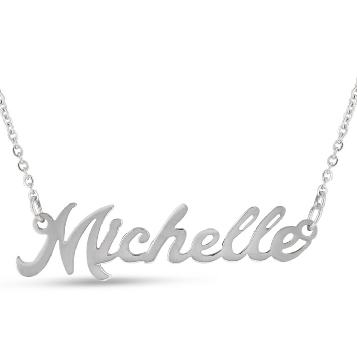 Michelle Nameplate Necklace in Silver, 16 Inch Chain by SuperJewe