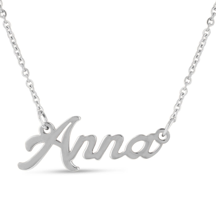 Anna Nameplate Necklace in Silver, 16 Inch Chain by SuperJeweler