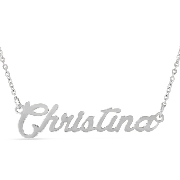 Christina Nameplate Necklace in Silver, 16 Inch Chain by SuperJew