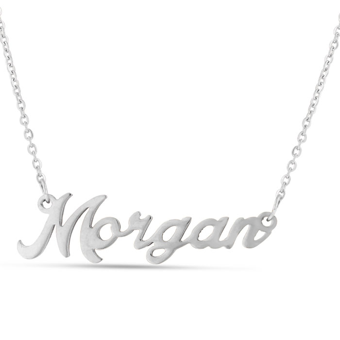 Morgan Nameplate Necklace in Silver, 16 Inch Chain by SuperJewele