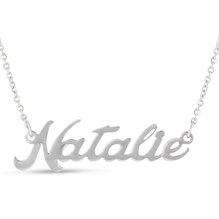 Natalie Nameplate Necklace in Silver, 16 Inch Chain by SuperJewel