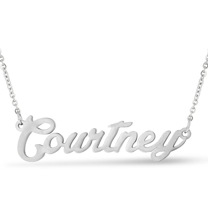 Courtney Nameplate Necklace in Silver, 16 Inch Chain by SuperJewe