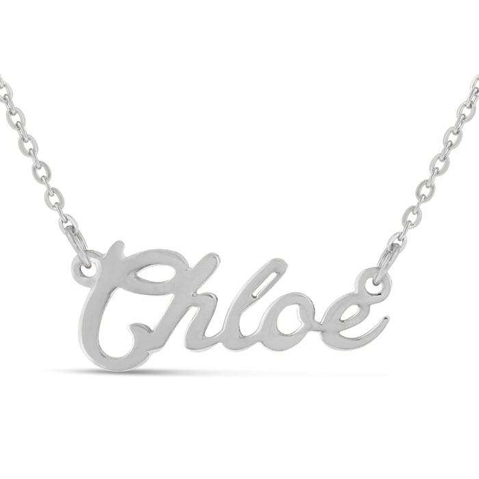 Chloe Nameplate Necklace in Silver, 16 Inch Chain by SuperJeweler