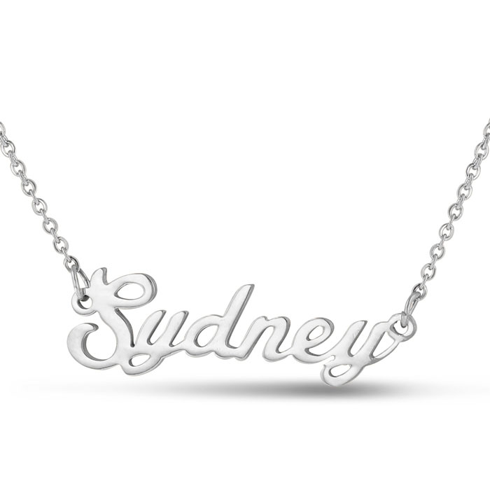 Image of Sydney Nameplate Necklace In Silver