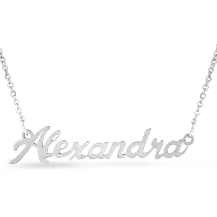 Alexandra Nameplate Necklace in Silver, 16 Inch Chain by SuperJew