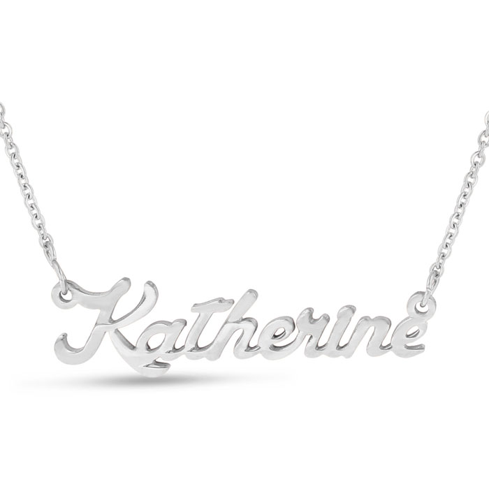 Katherine Nameplate Necklace in Silver, 16 Inch Chain by SuperJew