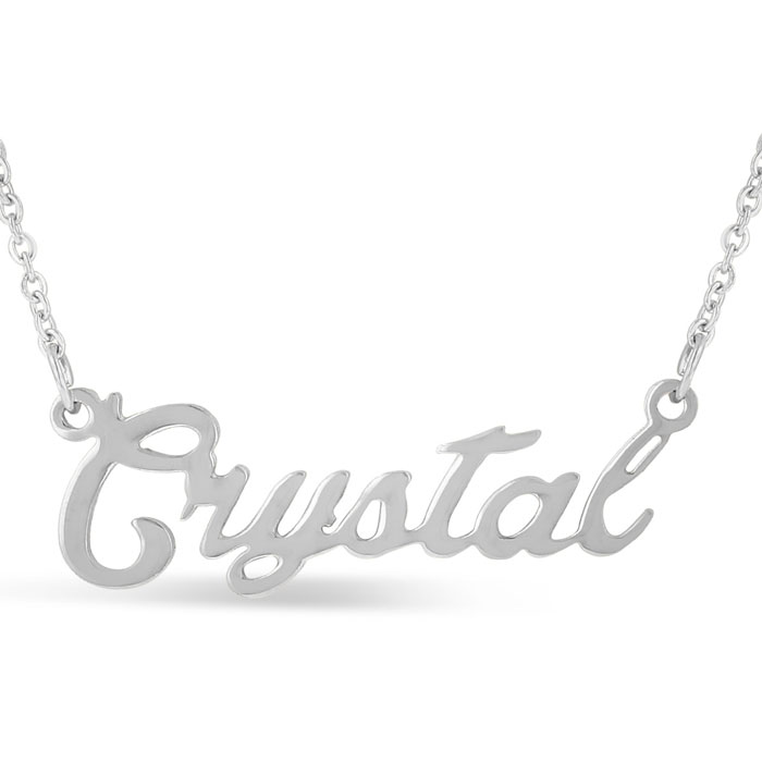 Crystal Nameplate Necklace in Silver, 16 Inch Chain by SuperJewel