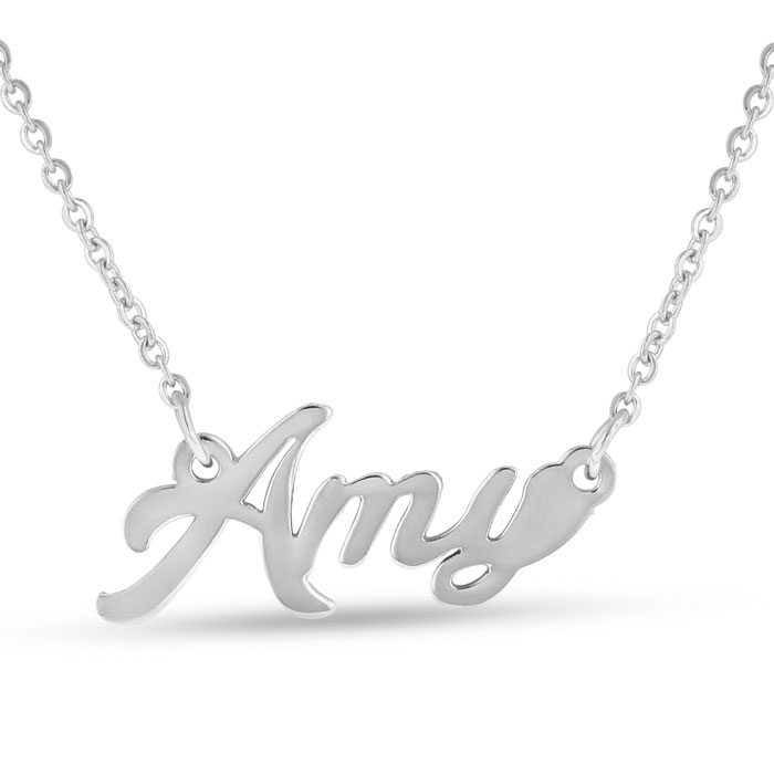 Amy Nameplate Necklace in Silver, 16 Inch Chain by SuperJeweler