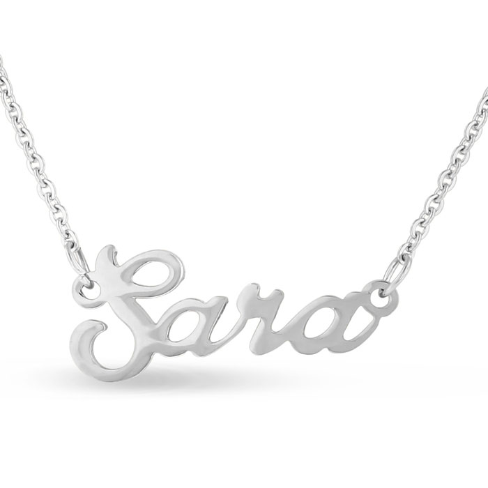 Sara Nameplate Necklace in Silver, 16 Inch Chain by SuperJeweler
