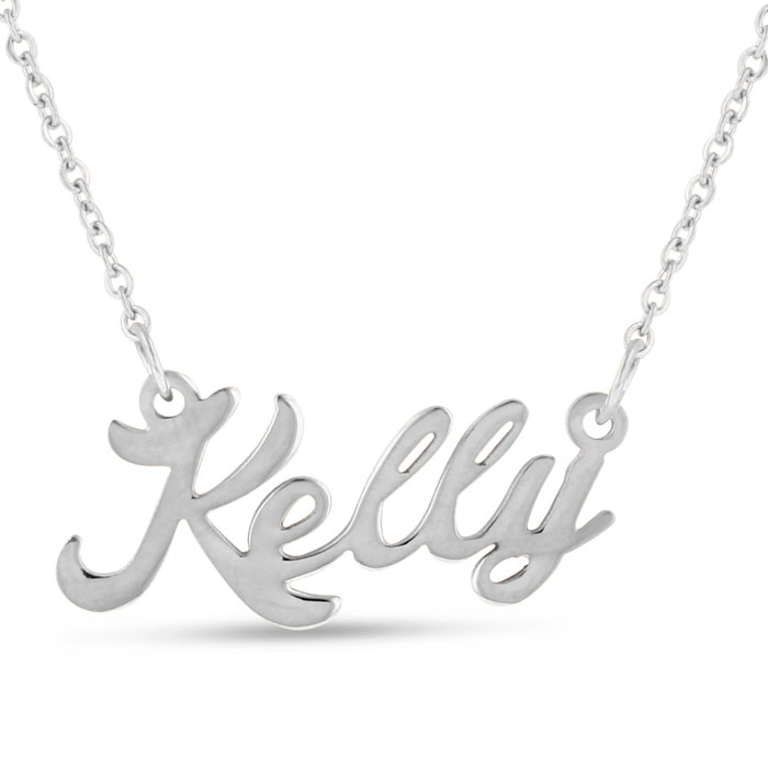Kelly Nameplate Necklace in Silver, 16 Inch Chain by SuperJeweler
