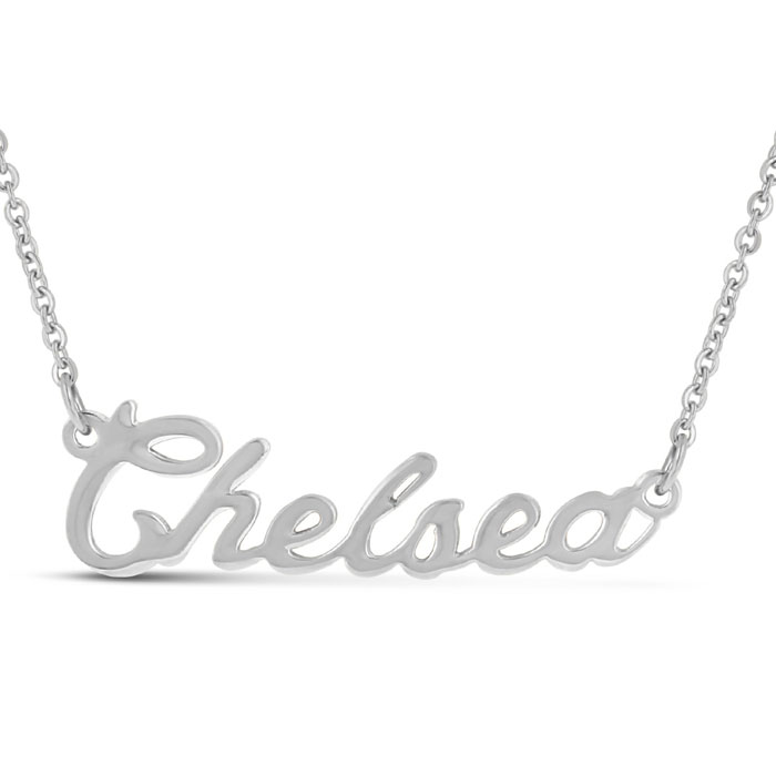 Chelsea Nameplate Necklace in Silver, 16 Inch Chain by SuperJewel
